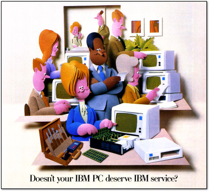 IBM PC Service Ad - Construction Paper Art - 1986