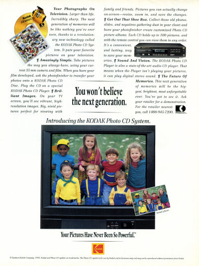 Digtial Photo scan Kodak Photo CD advertisement Picture CD - kids next generation on a TV set - Scientific American February 1993