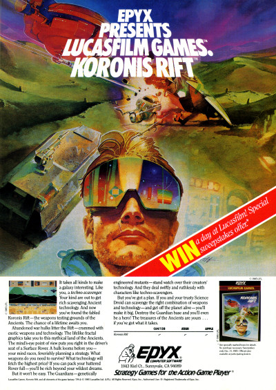 Lucasfilm Koronis Rift Advertisement - 1985