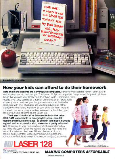 Laser 128 Apple II Compatible clone machine computer advertisement - 1987