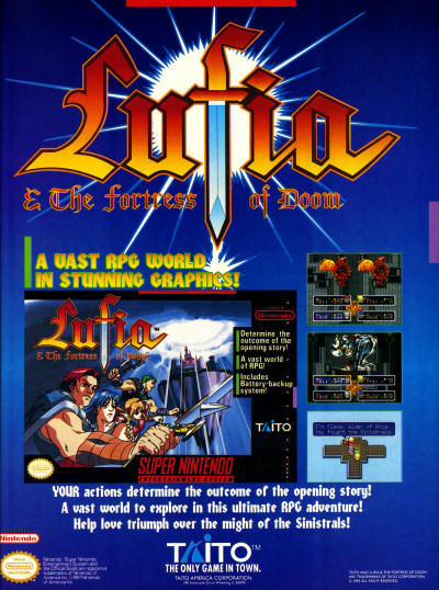Taito Lufia and the Fortress of Doom Super NES SNES Advertisement Scan - 1993