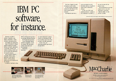 Dayna Communications MacCharlie IBM PC accessory for Macintosh ad - 1985
