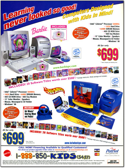 Patriot Mattel Barbie PC Hot Wheels PC Ad - 2000