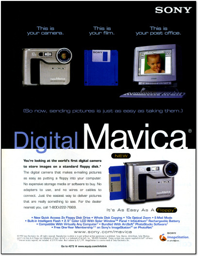 Sony Digital Mavica FD-7 with Floppy Drive Ad - 1998