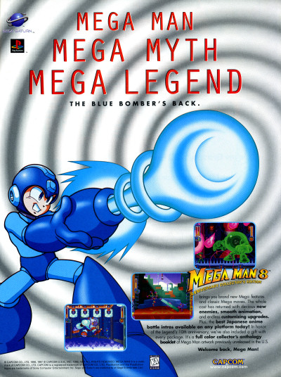 Capcom Mega Man 8 Sega Saturn advertisement - GamePro February 1997