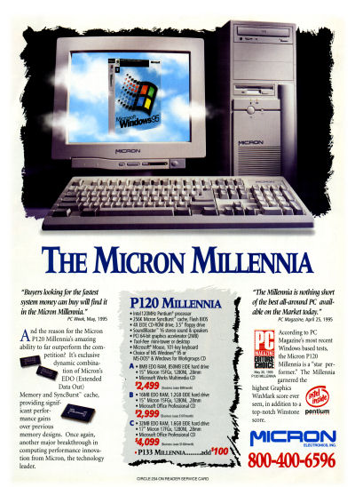 Micron Electronics Micron Millennia P120 PC clone advertisement - 1995