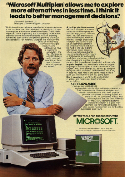 Microsoft Multiplan Apple II advertisement  - Personal Computing - 1983