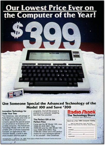 TRS-80 Model 100 Snow Christmas Ad - 1984