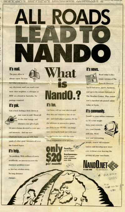 Raleigh News and Observer Nando Nando.net Newspaper Advertisement ISP Internet - 1994