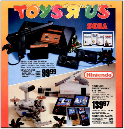 Toys'R'Us Nintendo Entertainment System and Sega Master System Ad - December 1987