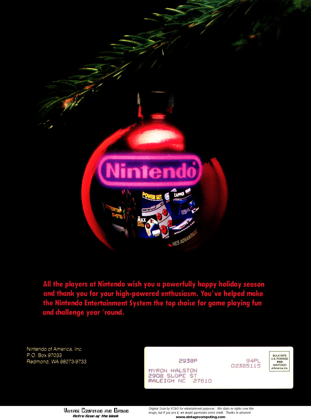 VC&G | » [ Retro Scan of the Week ] Merry Christmas From Nintendo, 1988