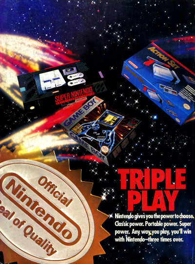 Nintendo Triple Play Game Boy NES SNES Nintendo Power Ad - 1992