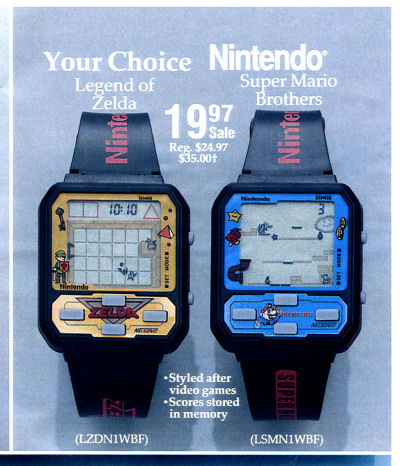 Nelsonic Nintendo Game Watches Zelda Watch Super Mario Bros. Watch Service Merchandise catalog advertisement - 1989