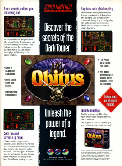 Psygnosis BPS Obitus SNES Super NES RPG EGM advertisement - 1994