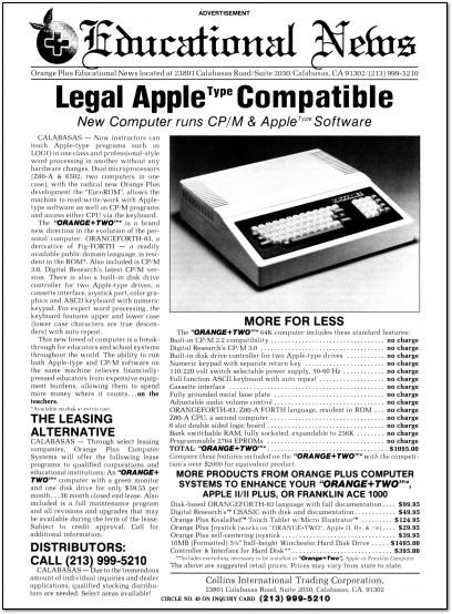 Orange+Two Apple II Clone Ad - 1983