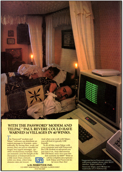 U.S. Robotics Password Modem Ad - 1984