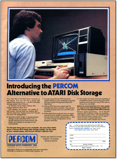 Percom Atari 800 Disk Drives RFD Mini Disk Storage System Ad - 1982
