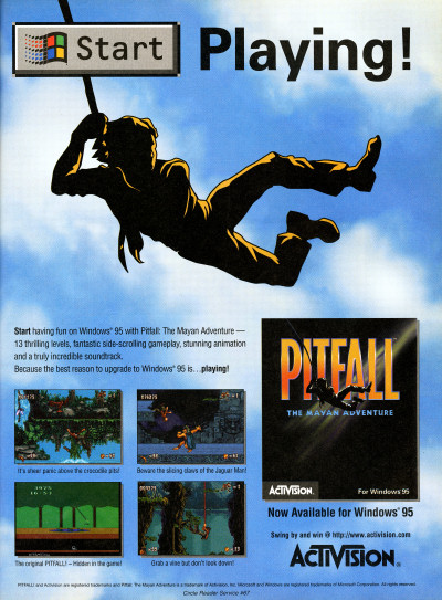 Pitfall Mayan Adventure Windows 95 PC Game advertisement - 1995