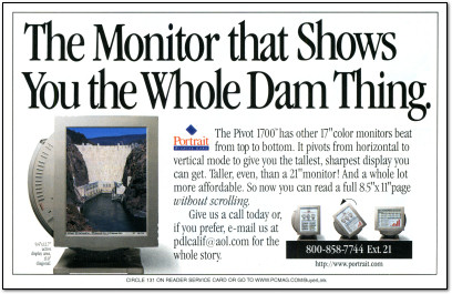 Portrait Display Labs Pivot 1700 Monitor Ad - 1997