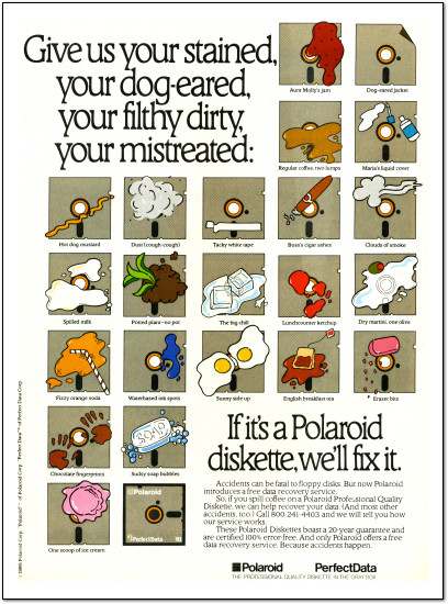 Polaroid PerfectData Disks ad -  1985