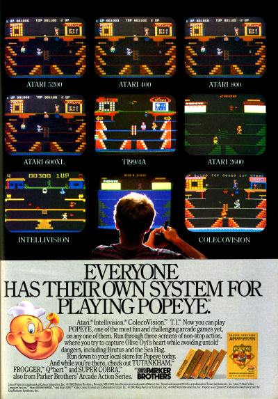 Parker Brothers Popeye multi-system screens advertisement - 1983
