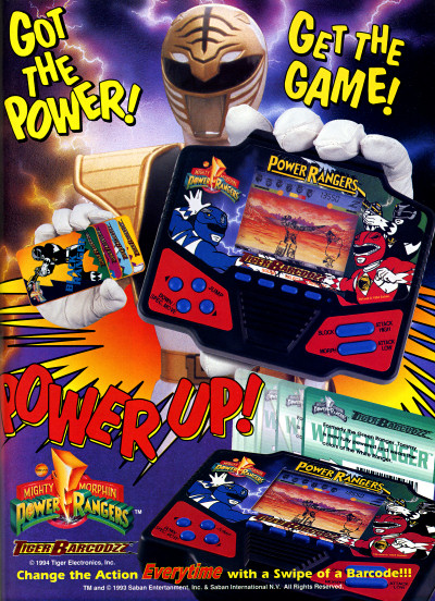 Tiger Barcodzz Mighty Morphin Power Rangers Handheld Electronic Game Ad - 1993