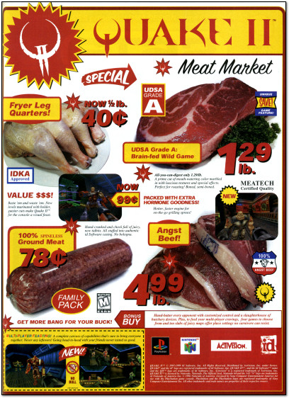 Quake II Meat Market Ad Playstation N64 - 1999