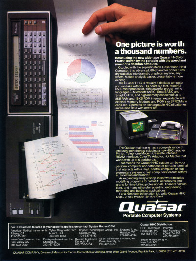 Quasar Hand-Held Computer HHC Pocket Computer Advertisement - 1982