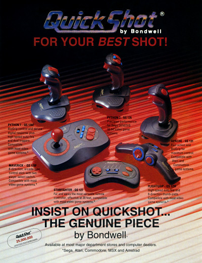 QuickShot Joysticks by Bondwell - Python Maverick Starfighter Flightgrip Apache - 1991