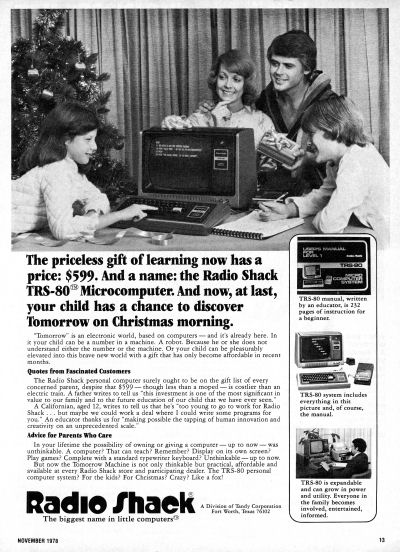 Radio Shack TRS-80 Model 1 Computer Christmas Family Christmas Morning Christmas Tree advertisement scan - 1978