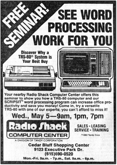 TRS-80 Word Processing Newspaper Ad - 1982