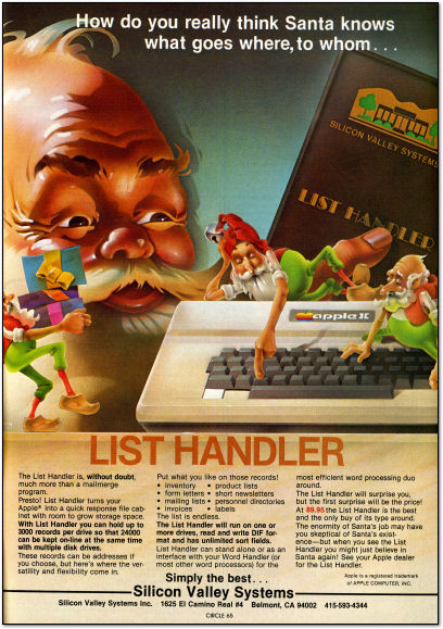 Santa Claus Computer Database List Apple II