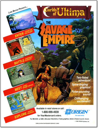 Origin Worlds of Ultima Savage Empire Ad - 1990