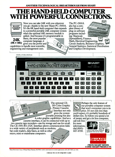 Sharp PC-1500A Pocket Computer - 1983