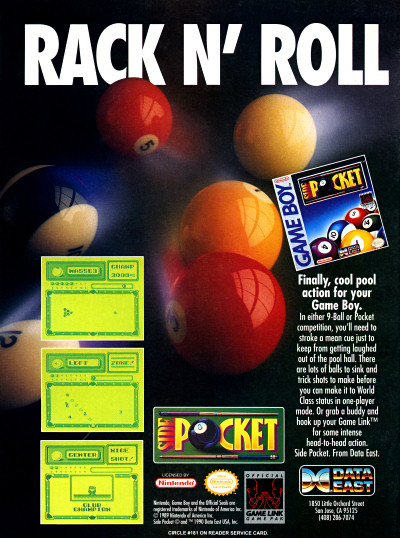 Data East Side Pocket for Nintendo Game Boy ad - 1991