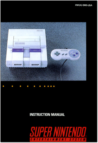 Super Nintendo Entertainment System - Super NES - SNES Instruction Manual Cover - 1991