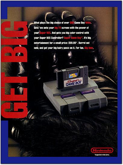 Nintendo Super Game Boy King Kong Gorilla Hand Ad - 1994
