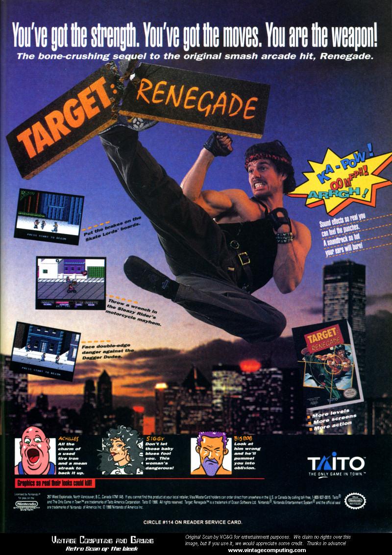 Target: Renegade Nintendo NES Game Ad - 1990