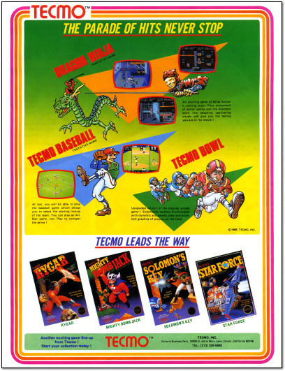 Tecmo NES Games Advertisement - Tecmo Bowl - Tecmo Baseball - Dragon Ninja - Mighty Bomb Jack - Rygar - Solomon's Key - Star Force - 1988