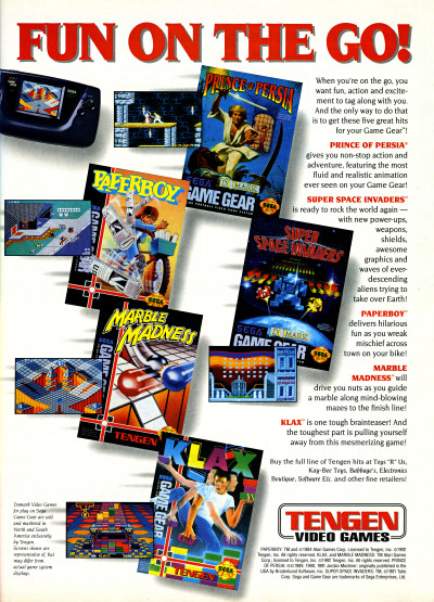 Tengen Sega Game Gear Games Group Ad - 1993