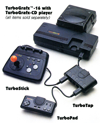 NEC TurboGrafx-16  TurboGrafx-CD Turbotap Turbopad Turbostick Fully-Loaded Setup - circa 1990