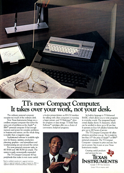 Texas Instruments TI CC-40 Compact Computer 40 Bill Cosby Ad - 1983