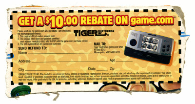 Tiger Game.com handheld game console $10 rebate coupon from back of cereal box - 1997-1998