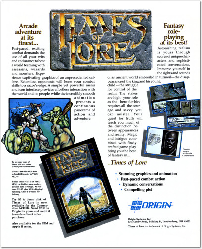 Origin Times of Lore RPG for Commodore 64 Ad - 1988