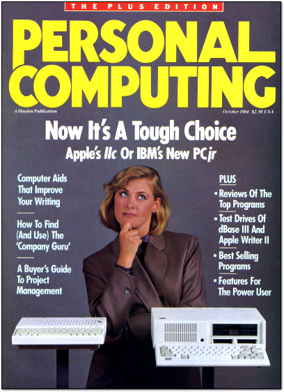 Popular Computing October 1984 Cover - IBM PCjr vs. Apple IIc - Now it's a tough choice.