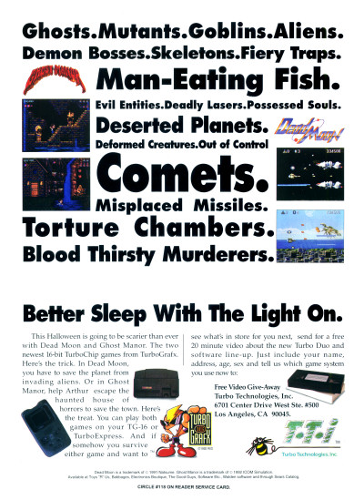 TTI TurboGrafx-16 Turbografx TurboExpress TurboDuo Dead Moon Ghost Manor advertisement scan - 1992