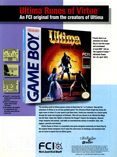 Origin FCI Ultima Runes of Virtue for Game Boy ad - 1991