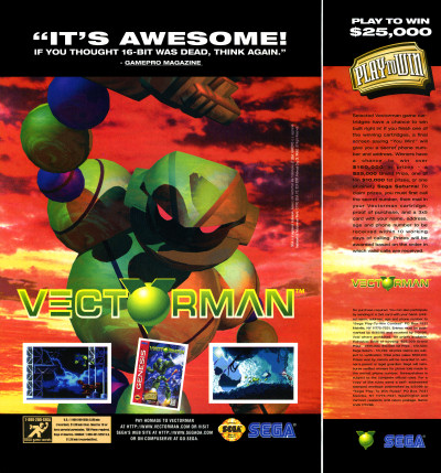 BlueSky Software Vectorman Play to Win Sega Genesis Advertisement Scan - 1995