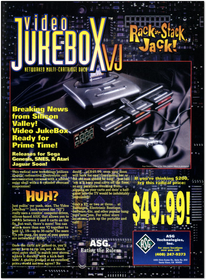 ASG Video Jukebox VJ Dock for Sega Genesis Ad - 1994