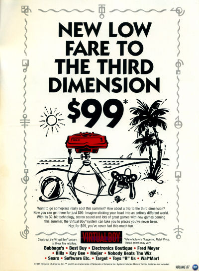 The Nintendo Virtual Boy for $99 Nintendo Power Advertisement - 1996
